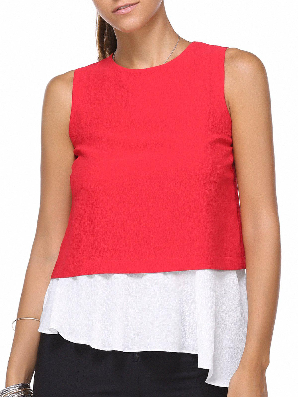 Chic Sleeveless Color Block Asymmetrical Women's Blouse - RED ONE SIZE(FIT SIZE XS TO M)