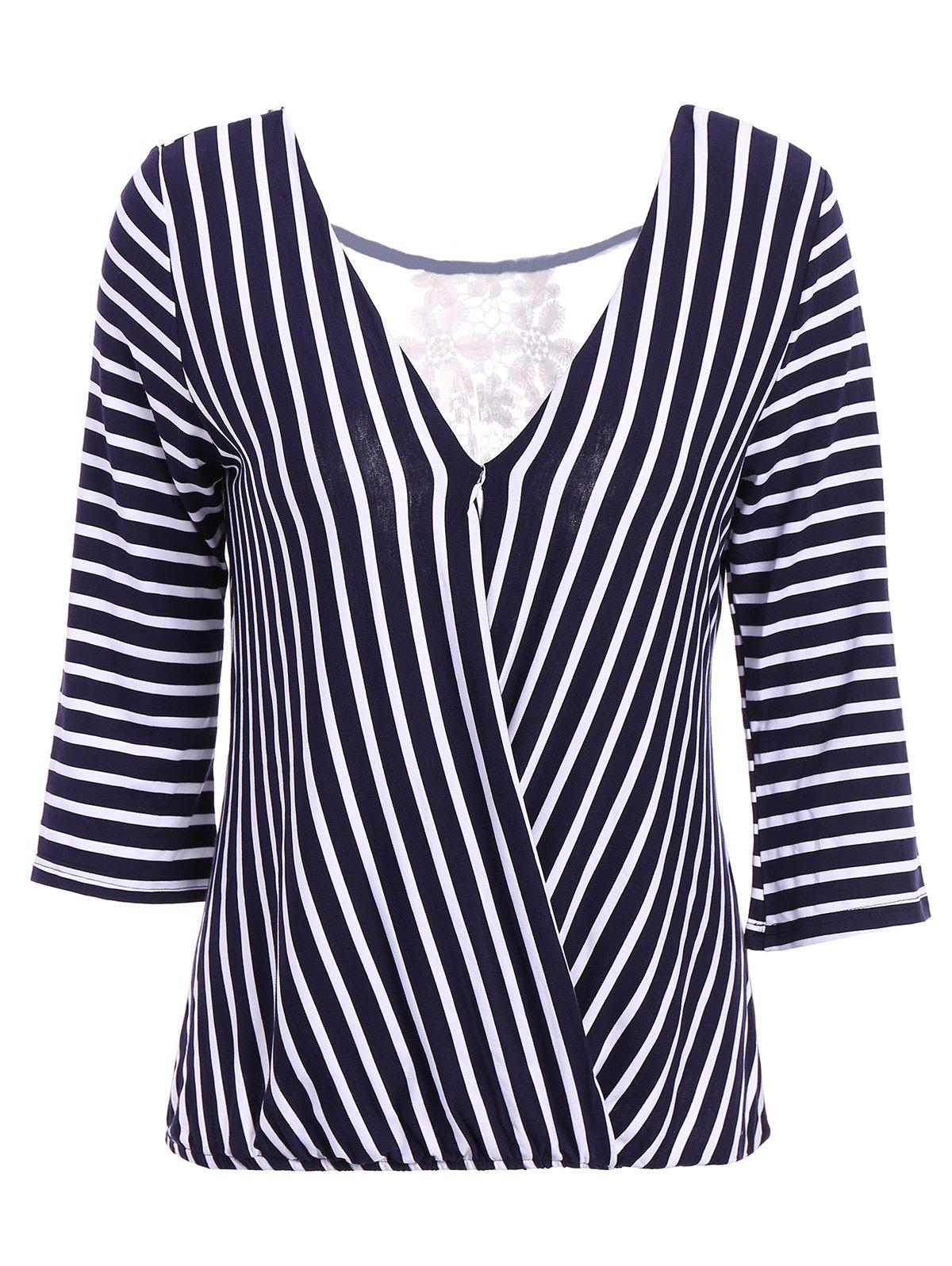 Sexy V-Neck 3/4 Sleeve Hollow Out Striped Women's Blouse - BLUE ONE SIZE(FIT SIZE XS TO M)