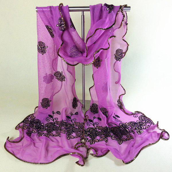 Chic Shinning Rose Embroidery Covered Edge Women's Georgette Scarf