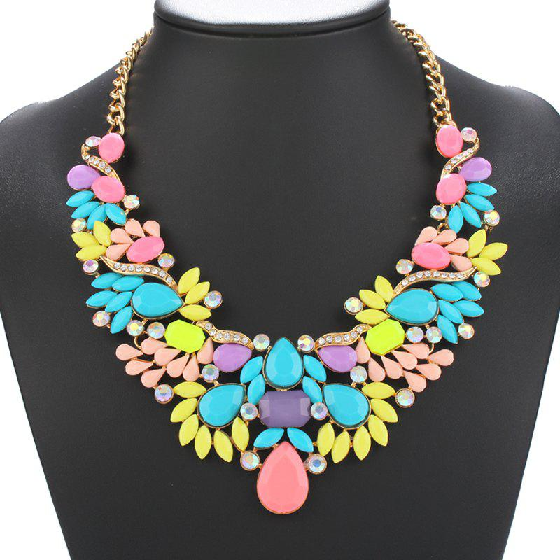 Water Drop Artificial Gem Necklace - BLUE/PINK