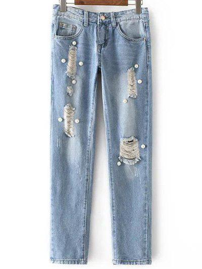 Fashion Mid Waisted Beading Ripped Jeans For Women fashion ripped high waisted loose jeans
