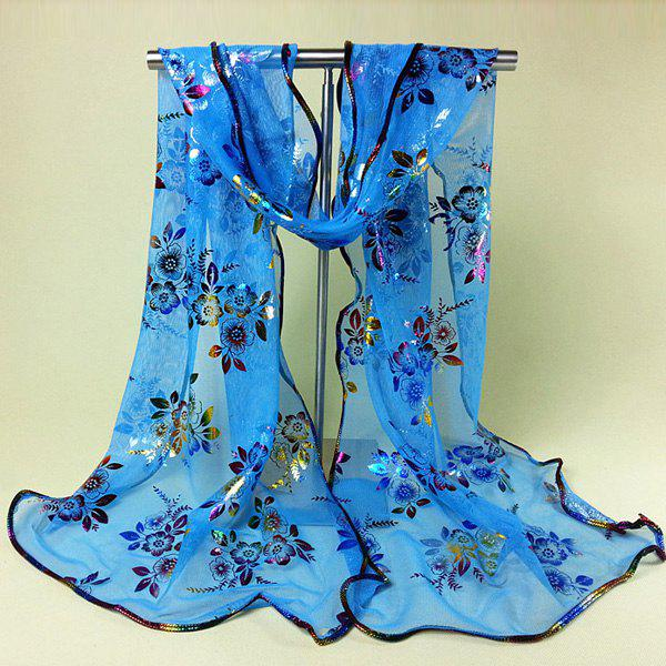 Chic Shinning Colorful Wintersweet Print Covered Edge Women's Georgette Scarf