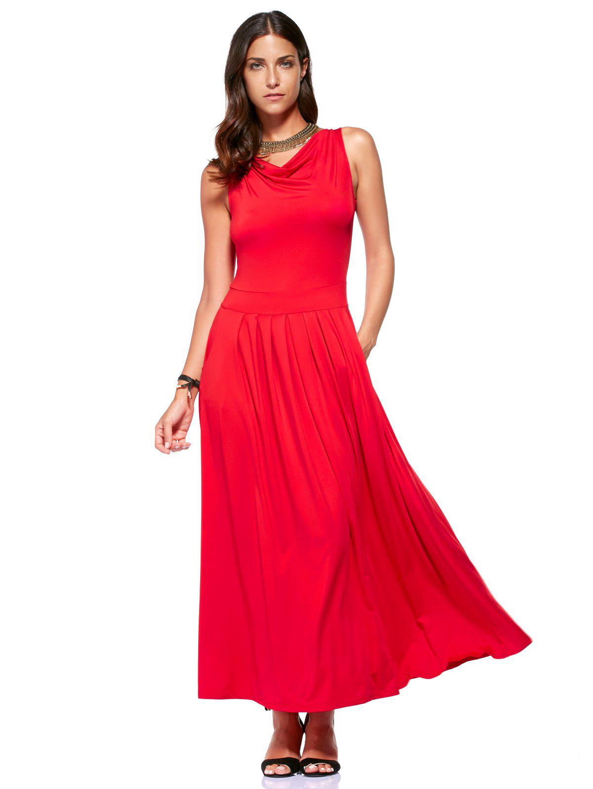 Stylish Women's Cowl Neck Sleeveless Backless Solid Color Dress