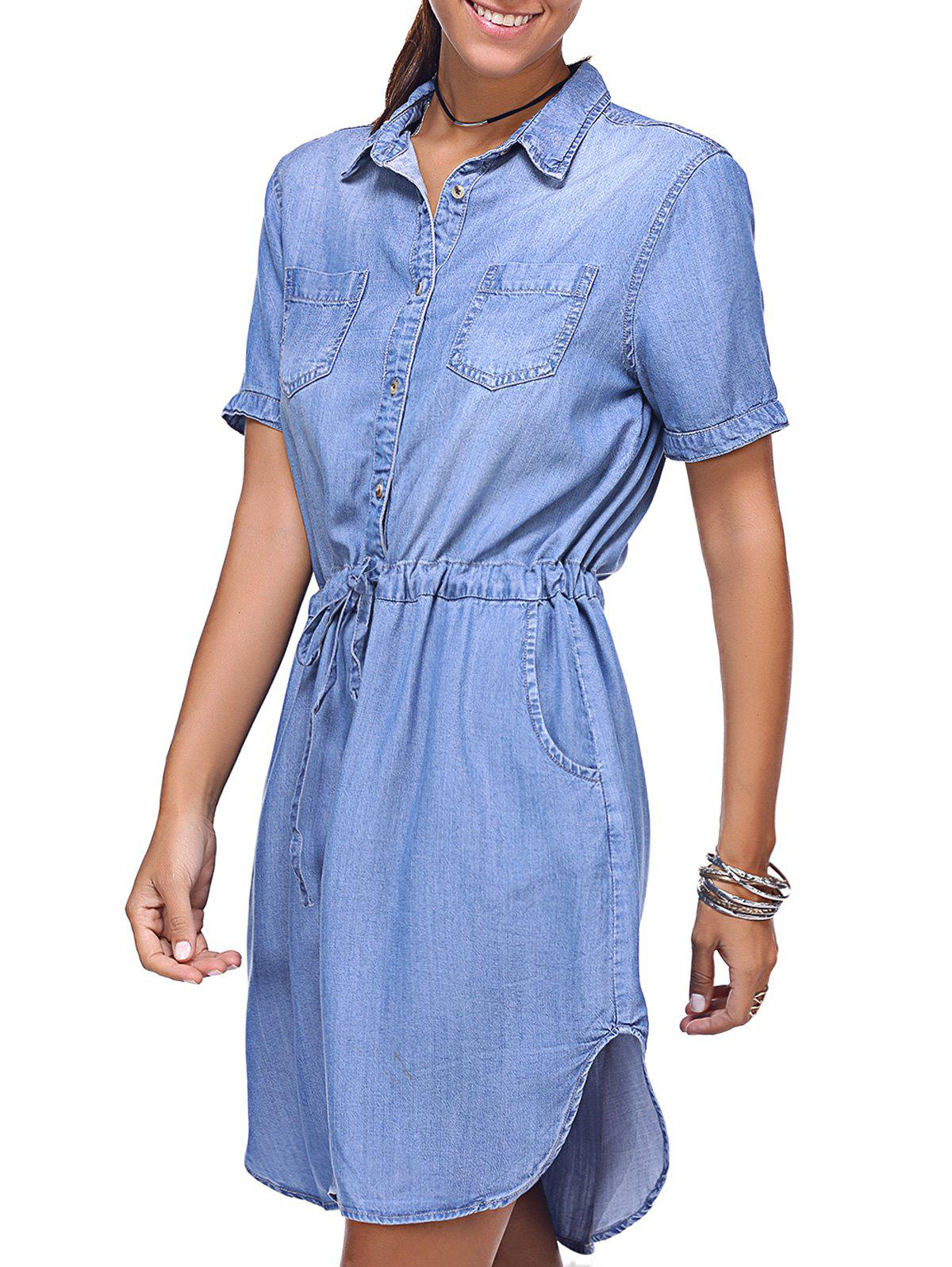 Stylish Women's Shirt Collar Bleach Wash Drawstring  Denim Dress - DENIM BLUE ONE SIZE(FIT SIZE XS TO M)