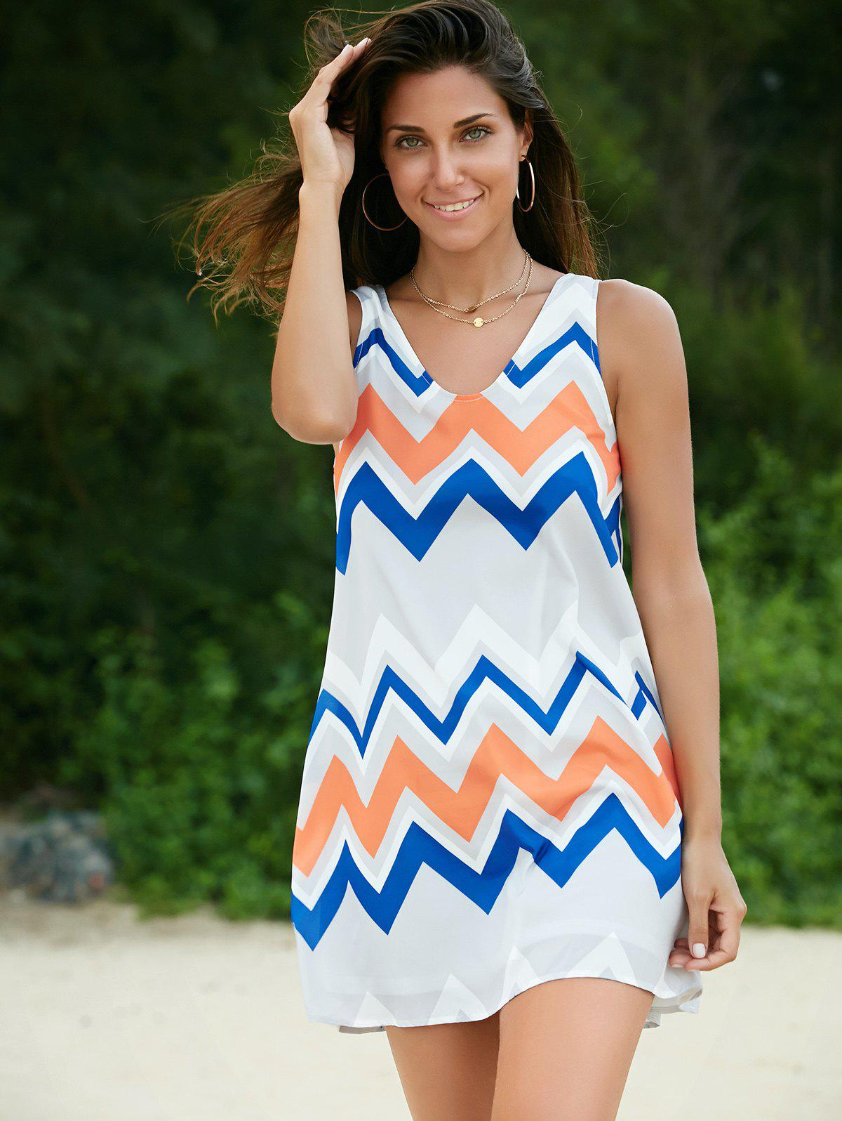 Trendy Sleeveless Scoop Neck Zig Zag Print Dress For Women - COLORMIX XL