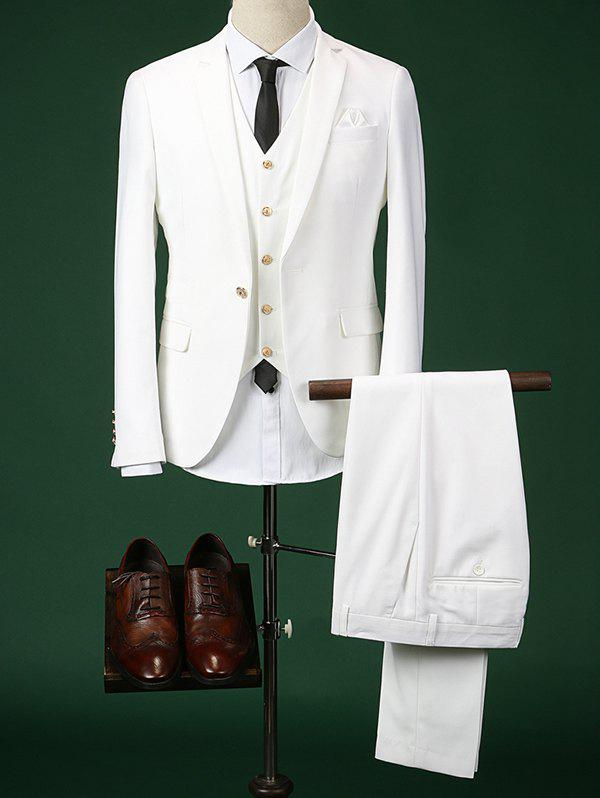 Single Breasted Lapel Long Sleeve Men's Three-Piece Suit ( Blazer + Waistcoat + Pants ) - WHITE 2XL