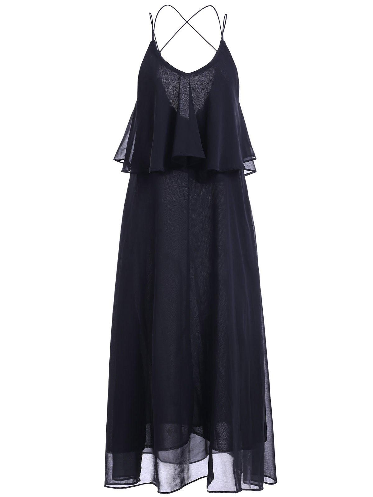 Casual Women's Solid Color V-Neck Spaghetti Strap Flounce Backless Maxi Dress - BLACK ONE SIZE(FIT SIZE XS TO M)