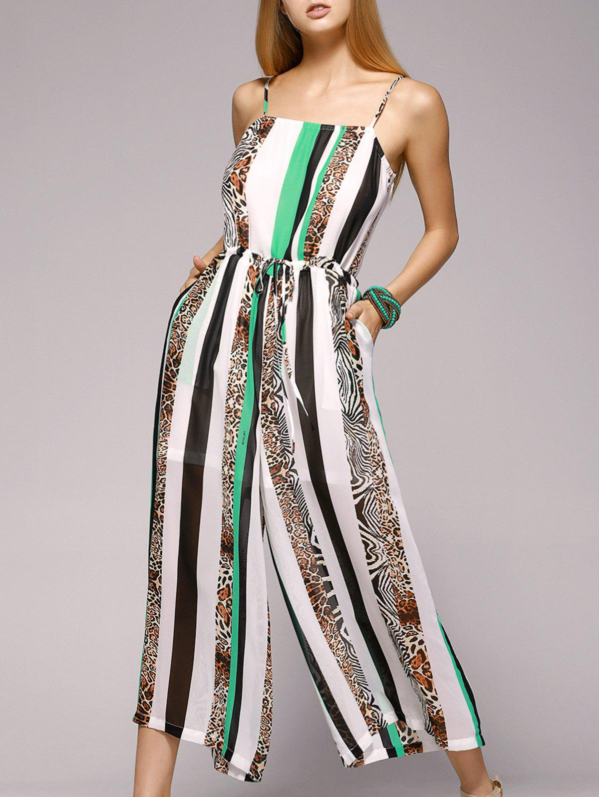 Fashioable Vertical Printing Spaghetti Strap Jumpsuit For Women - WHITE/GREEN XL