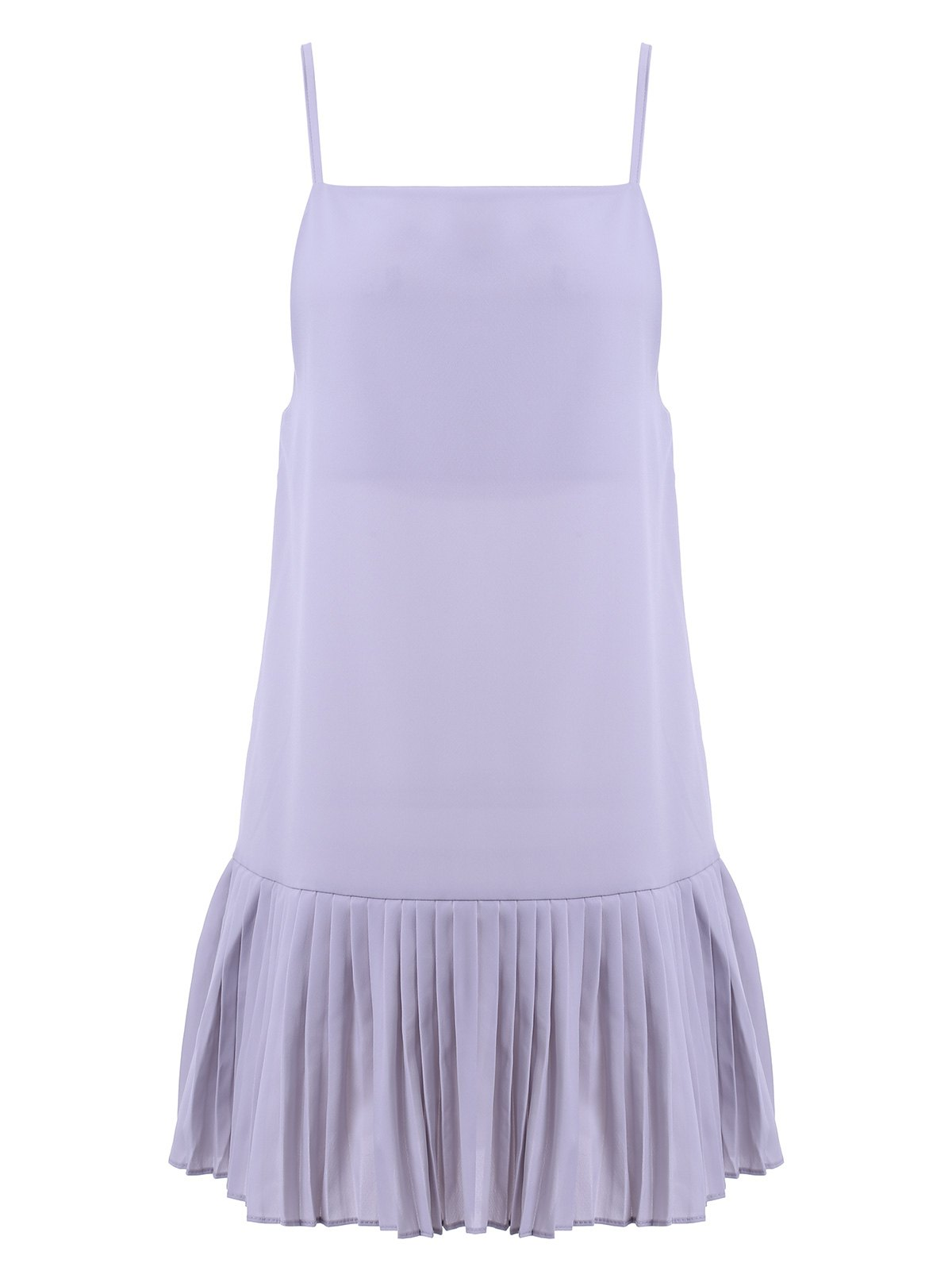 Simple Design Women's Solid Color Spaghetti Strap Pleated Dress - LIGHT GRAY ONE SIZE(FIT SIZE XS TO M)
