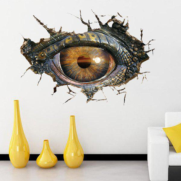Novelty Home Decoration 3D Lifelike Dinosaur Eyes Wall Art Sticker - BLACK GREY
