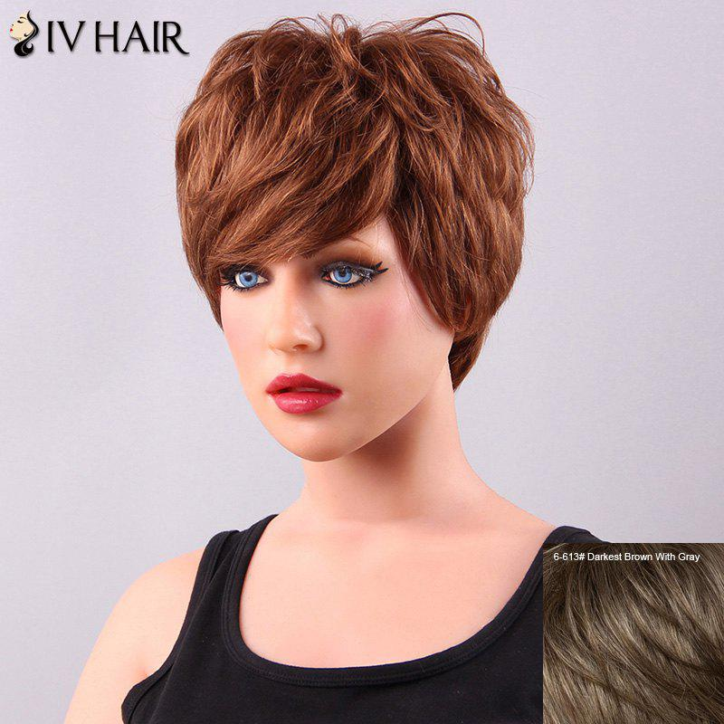 Fashion Short Fluffy Side Bang Women's Siv Human Hair Wig - DARKEST BROWN/GRAY
