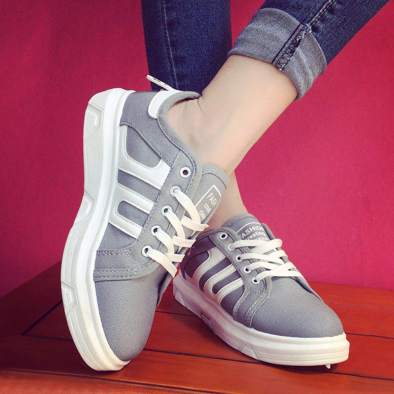 Stylish Color Block and Letter Design Women's Sneakers - GRAY 40