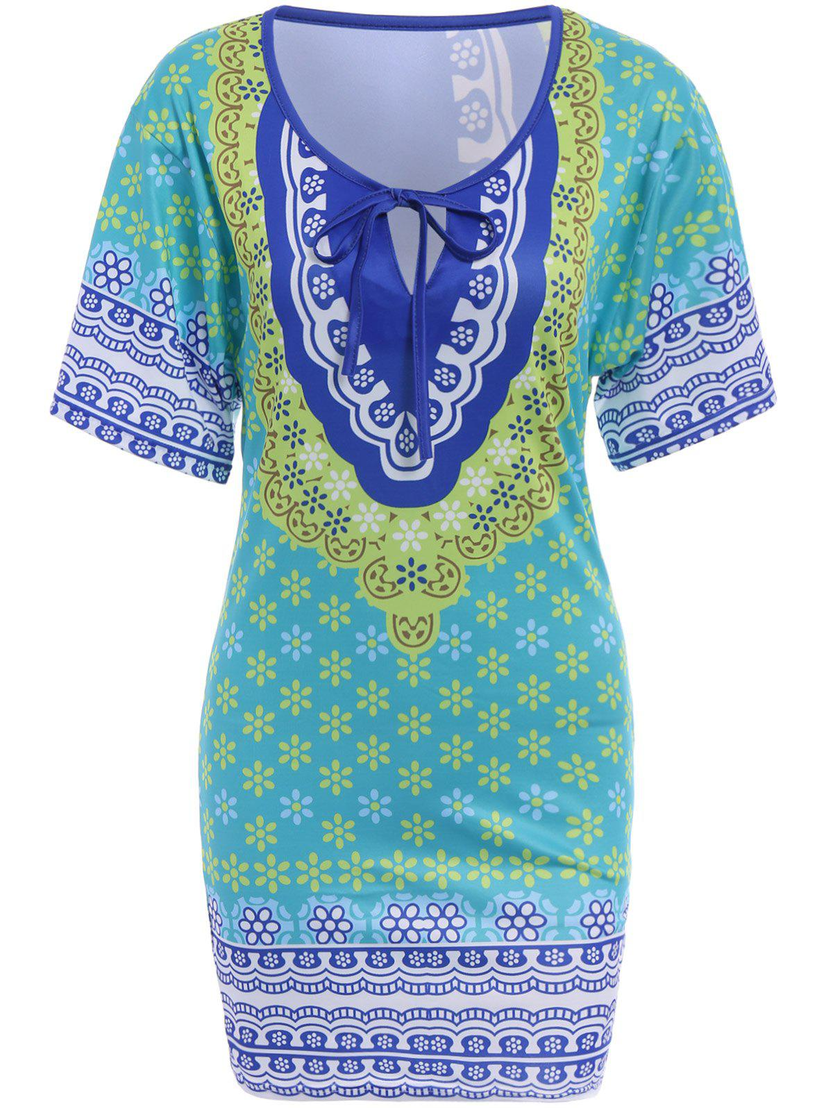 Chic 3/4 Sleeve Plunging Neck Floral Print Women's Dress - GREEN ONE SIZE(FIT SIZE XS TO M)
