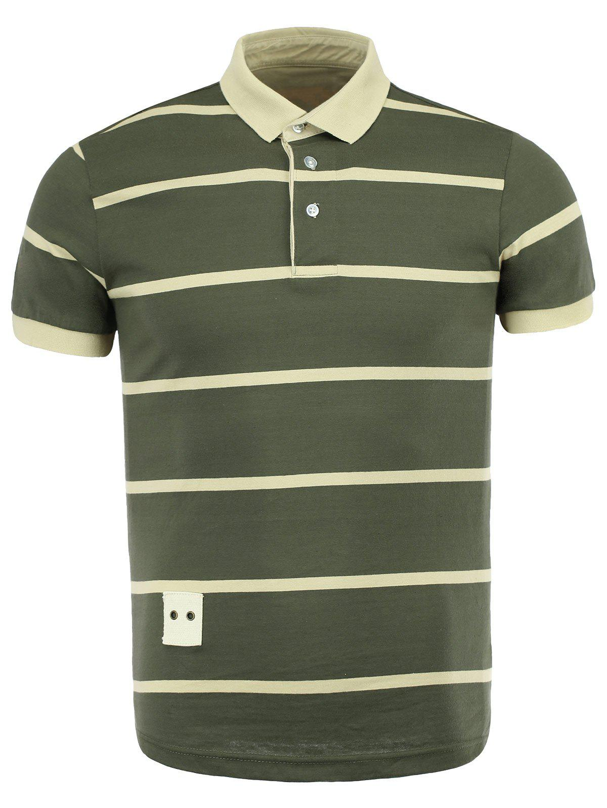 Stripe Turn-Down Collar Color Block Spliced Short Sleeve Men's Polo T-Shirt - ARMY GREEN XL
