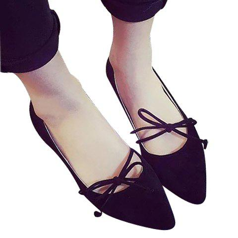 Concise Pointed Toe and Bow Design Women's Flat Shoes - BLACK 37