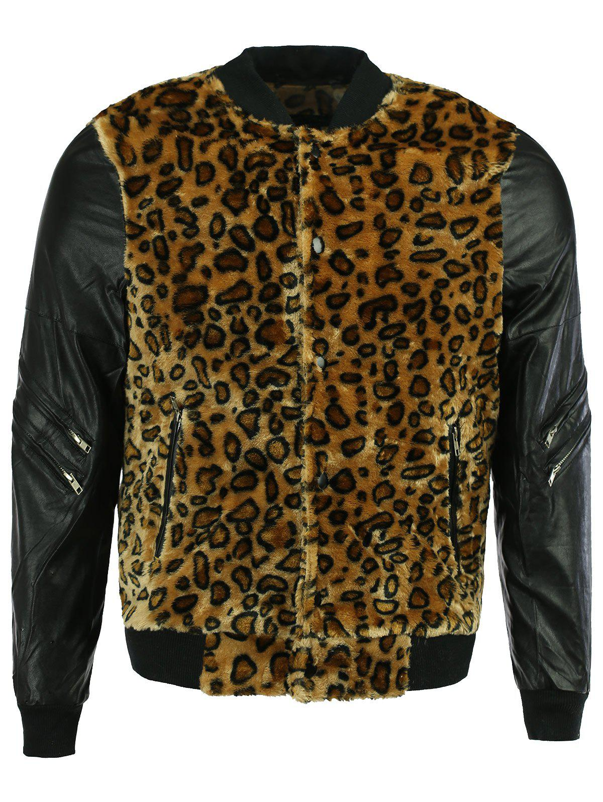 PU Leather Splicing Leopard Pattern Bomber Jacket