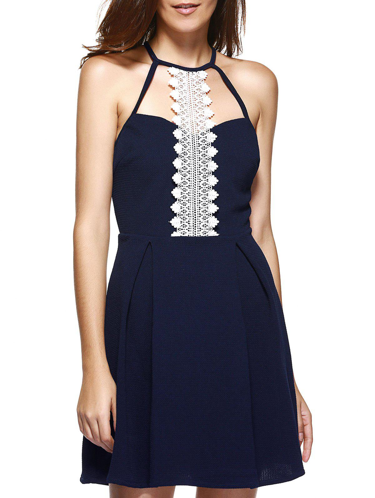 Lace Splicing Cut Out Back Zippered Dress