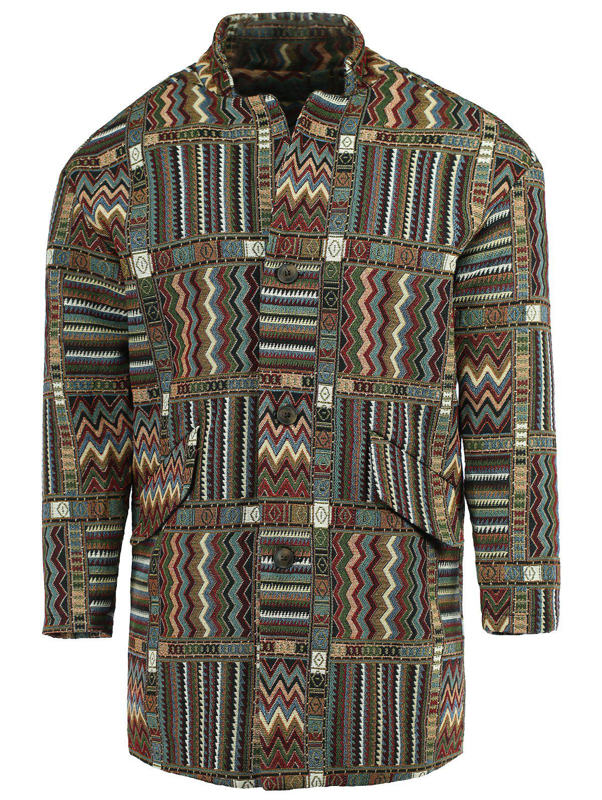 Lapel Geometric Print Ethnic Style Long Sleeve Men's Coat