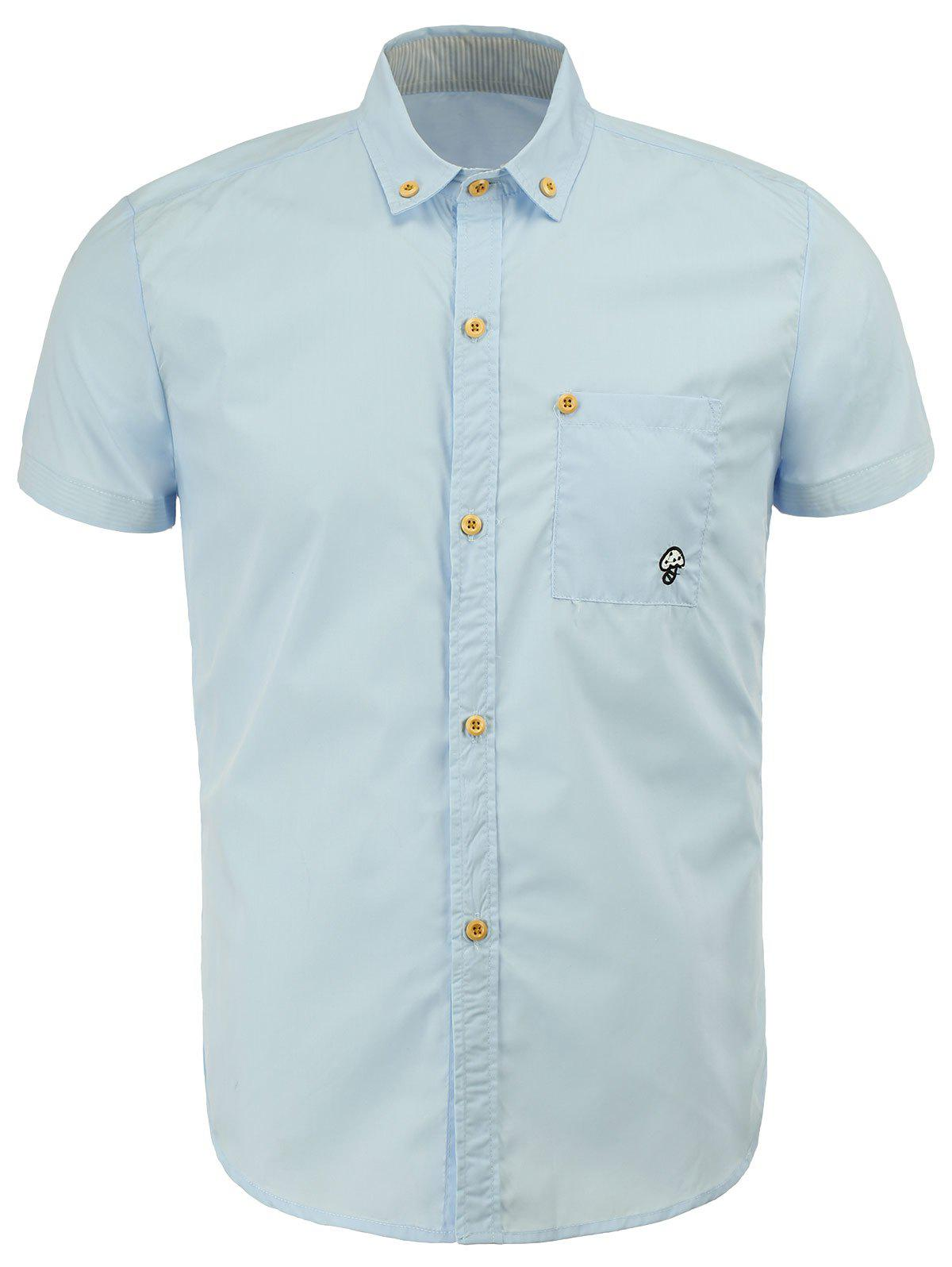 Casual Turn Down Collar Solid Color Button Design Men's Shirts - ICE BLUE XL
