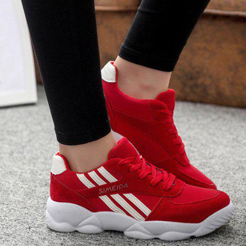 Stylish Stripe and Lace-Up Design Women's Sneakers - RED 40