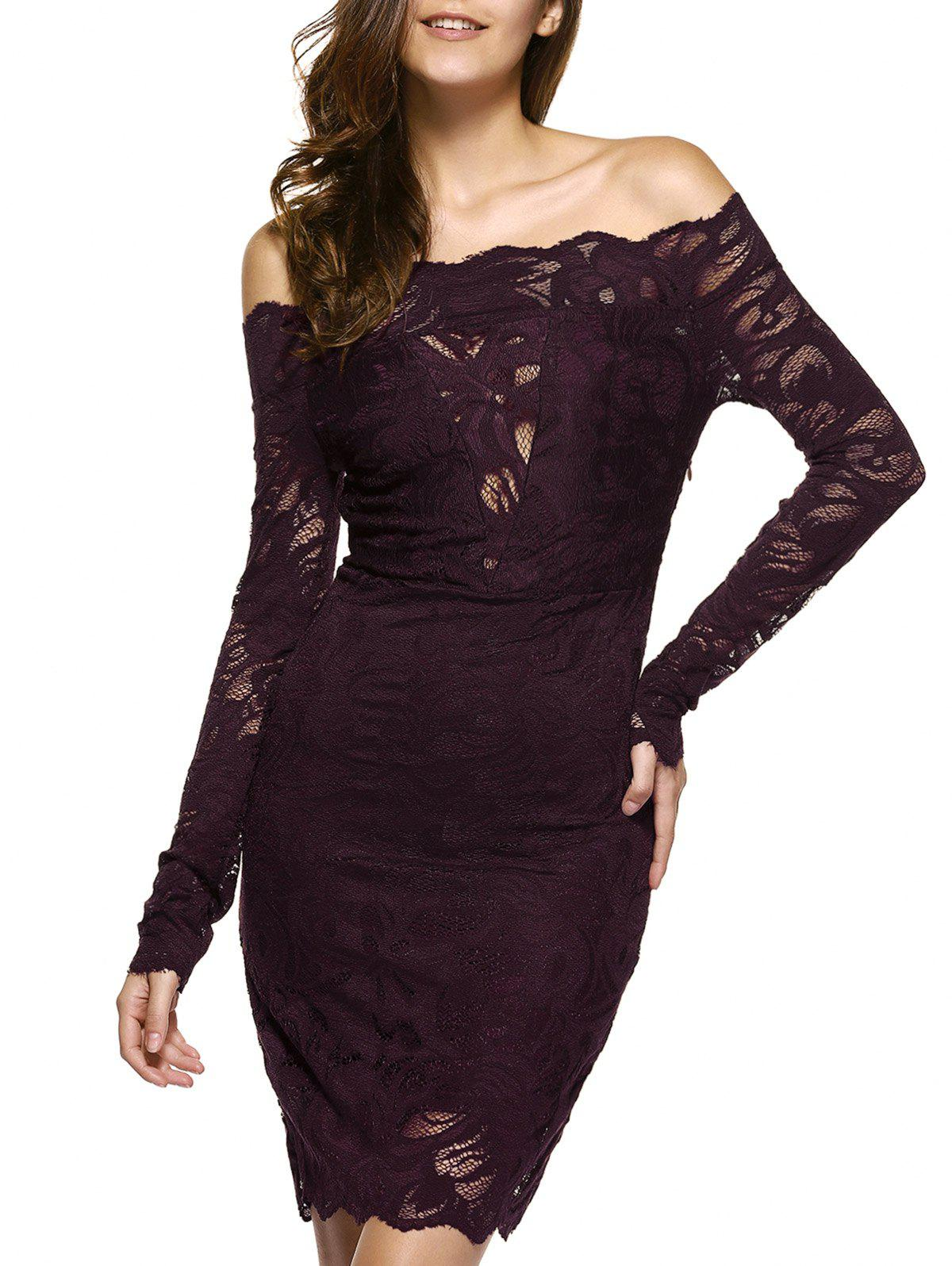 Off The Shoulder Lace Bodycon Mini Dress - WINE RED 2XL