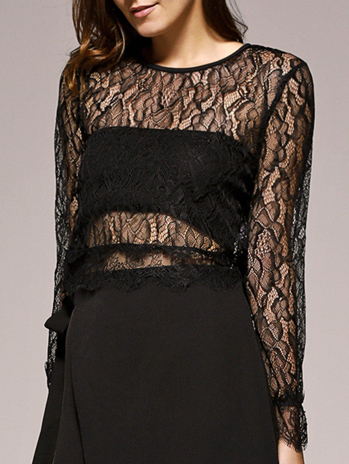 Bell Sleeves Lace Openwork Blouse - BLACK 2XL