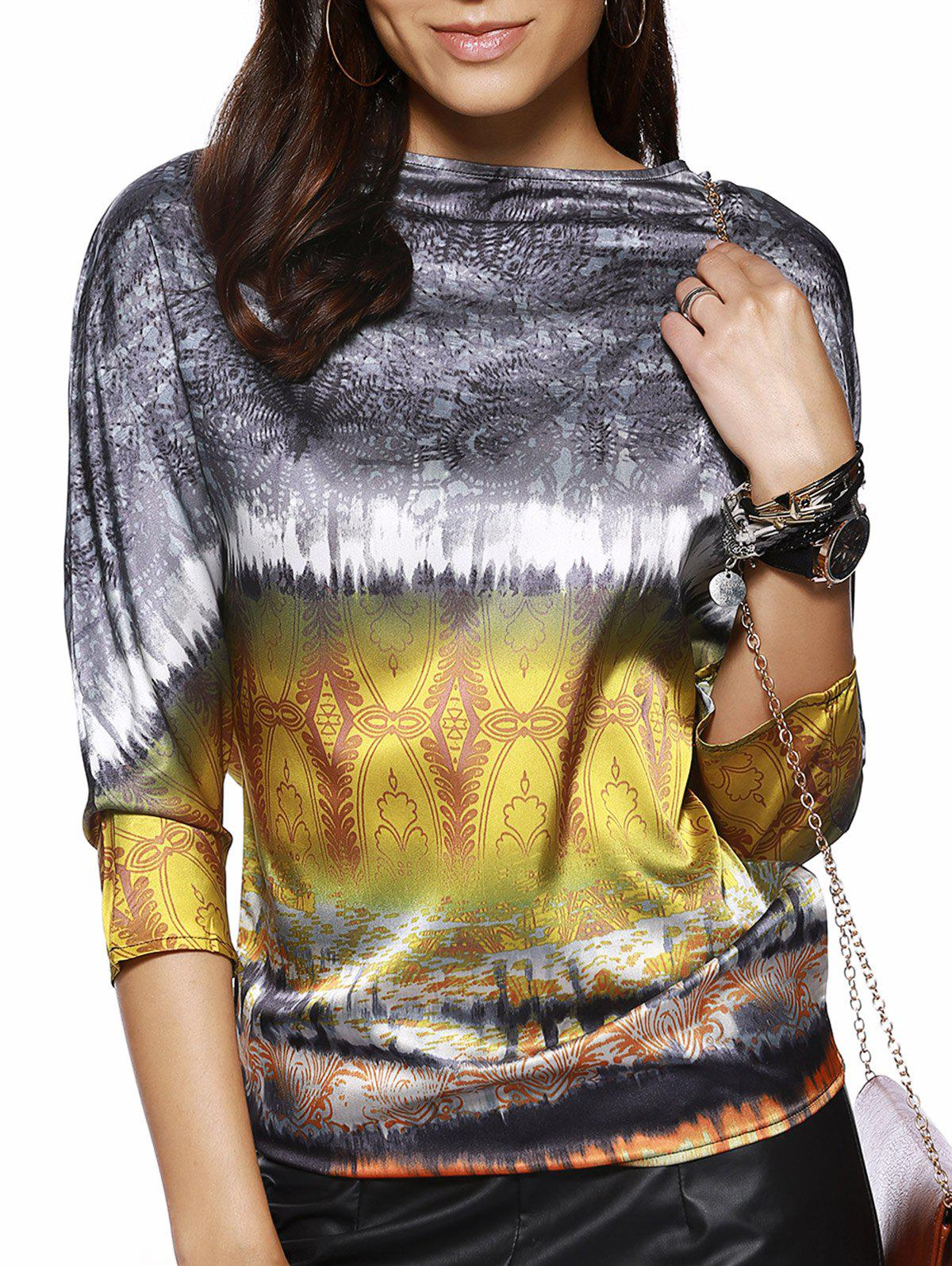 Retro Style Women's Boat Neck 3/4 Sleeve Printed Blouse - YELLOW XL
