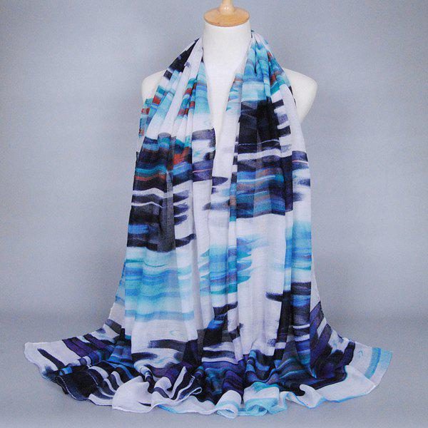 Hot Sale Scrawl Stripe Pattern Personality Women's Voile Shawl Wrap Scarf - CADETBLUE