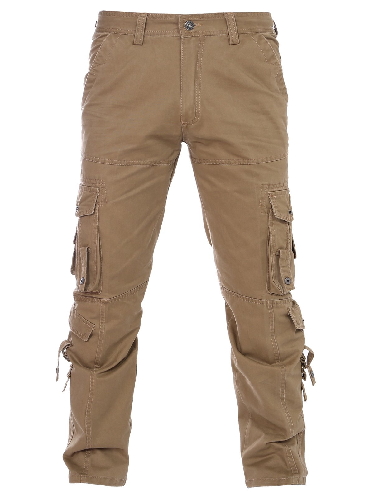 Pockets Solid Color Zipper Fly Straight Leg Men's Pants - KHAKI 36