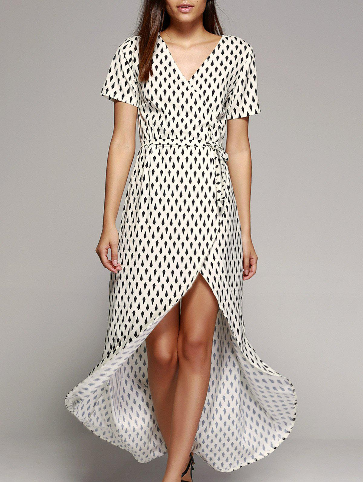 Fashionable Crossover Tulip Hem Printed Tied Dress For Women