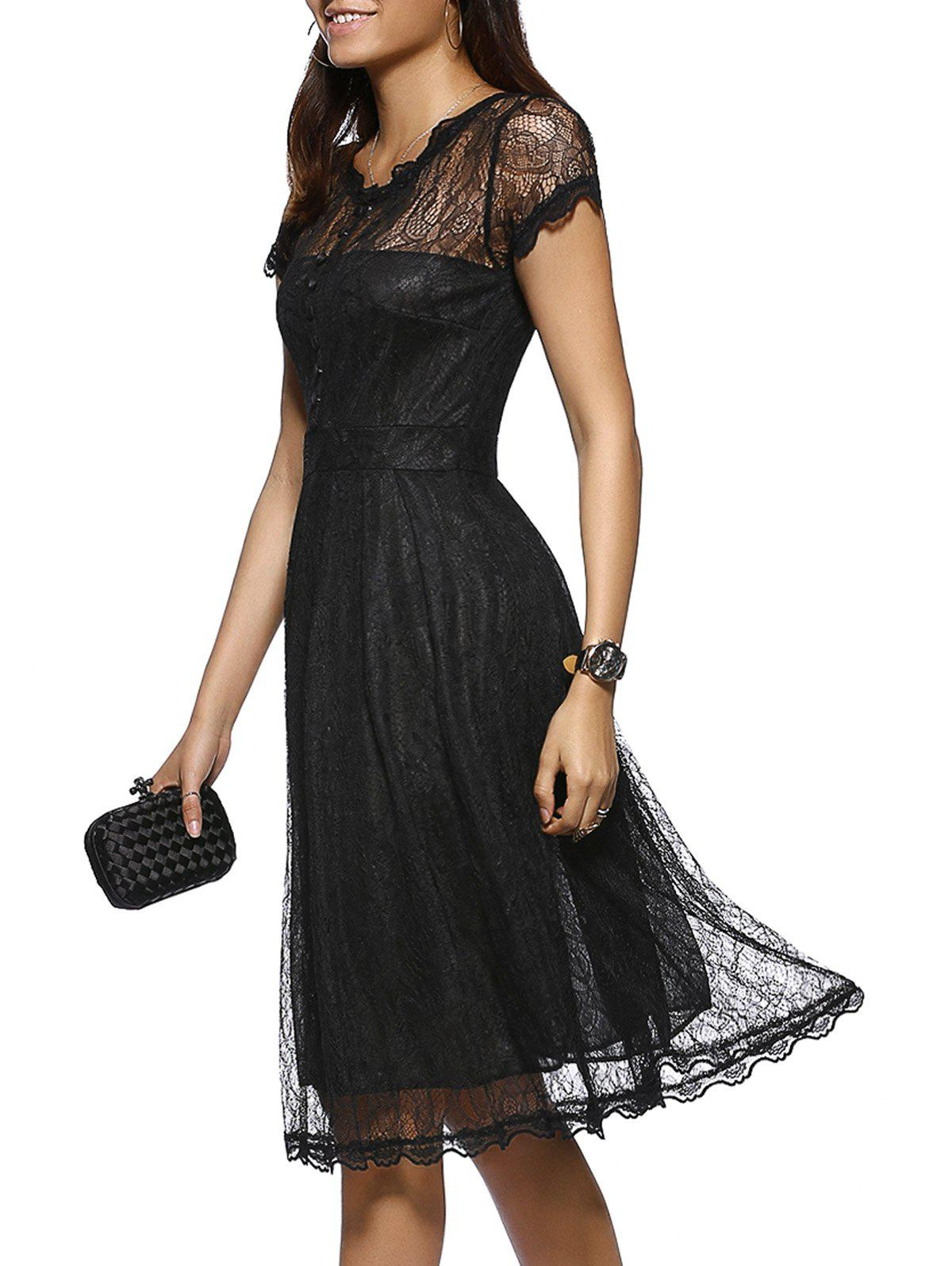 Elegant Button Front Scalloped Layered Women's Lace Dress - BLACK 2XL