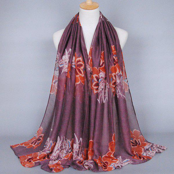 Sedate Style Flower Pattern Deep Color Series Women's Voile Shawl Wrap Scarf - KHAKI