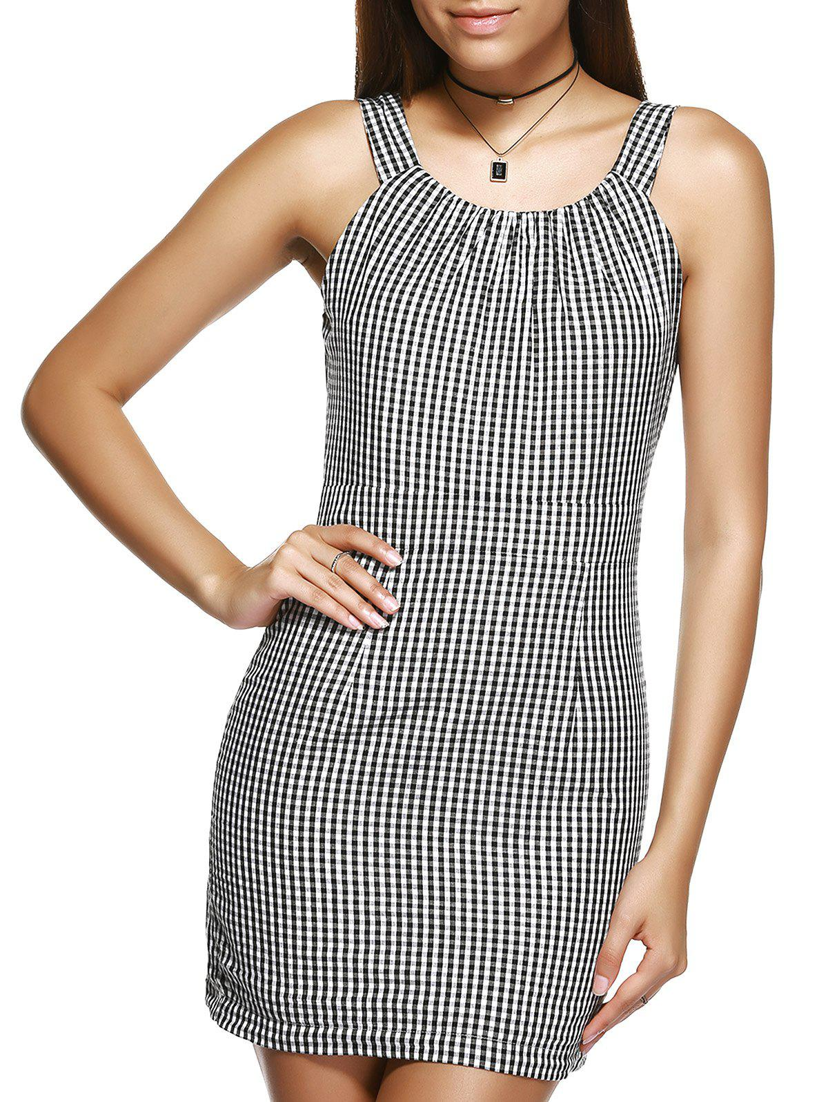 Refreshing Women's Strappy Checked Slimming Mini Dress - CHECKED L