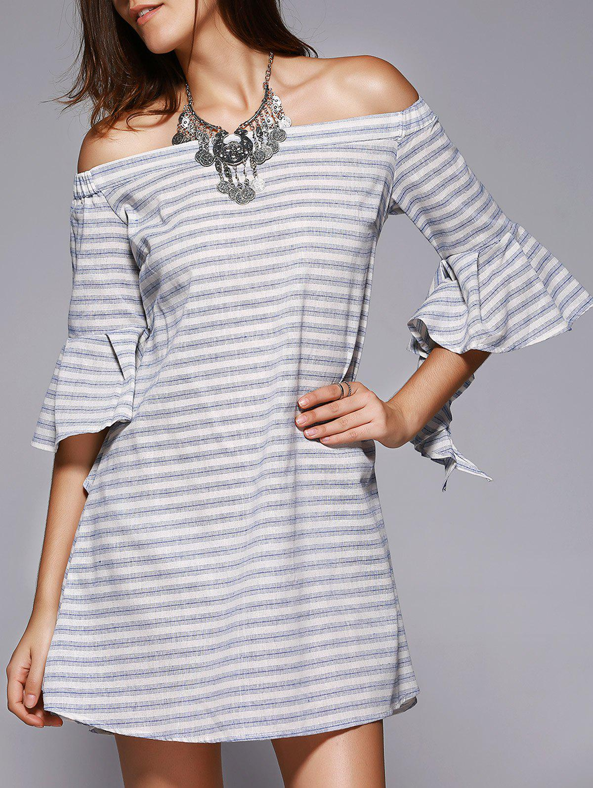 Chic Off-The-Shoulder Cut Out Striped Dress For Women