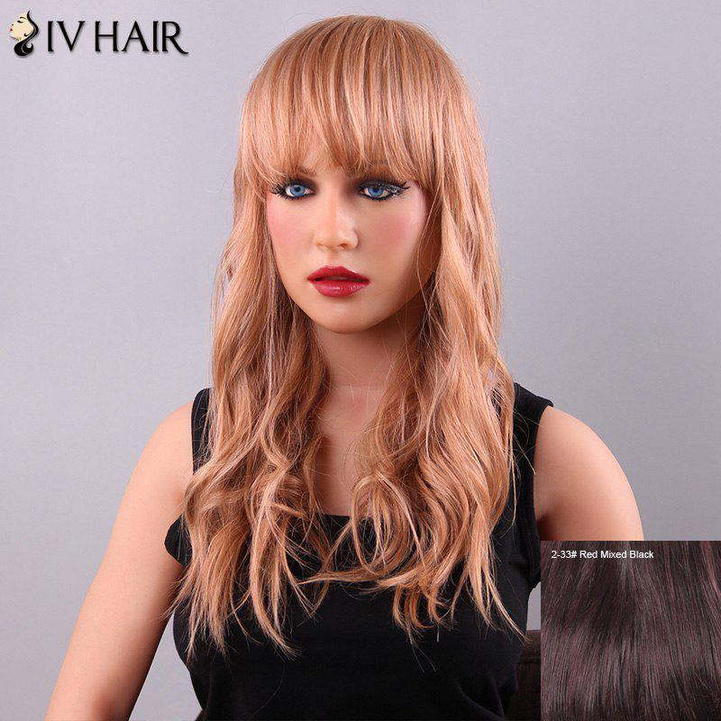 Gorgeous Long Wavy Neat Bang Women's Siv Human Hair Wig - RED MIXED BLACK