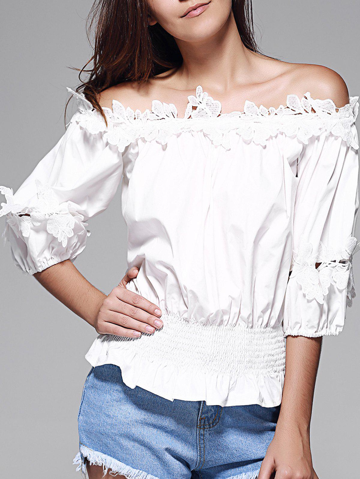 Off The Shoulder Guipure Frilled Blouse - WHITE 2XL