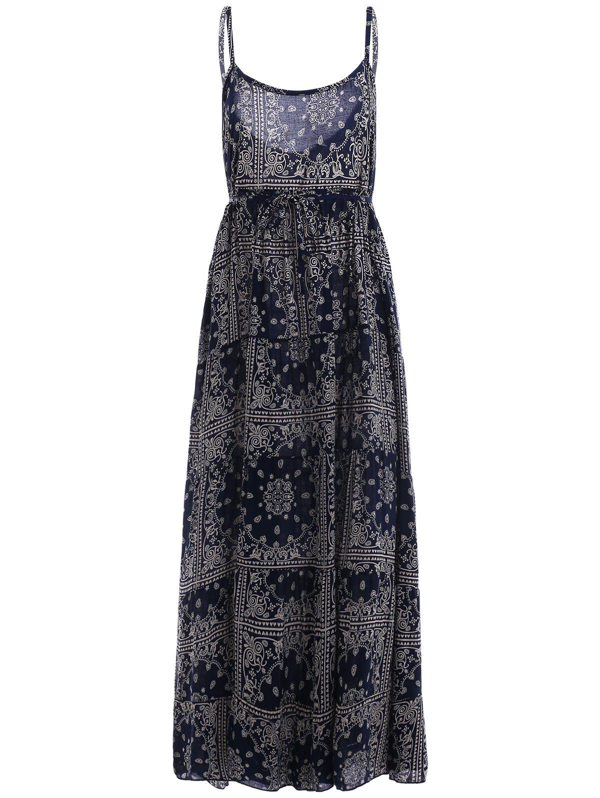 Ethnic Style Women's Spaghetti Strap Tribal Print Tie Maxi Dress - PURPLISH BLUE S