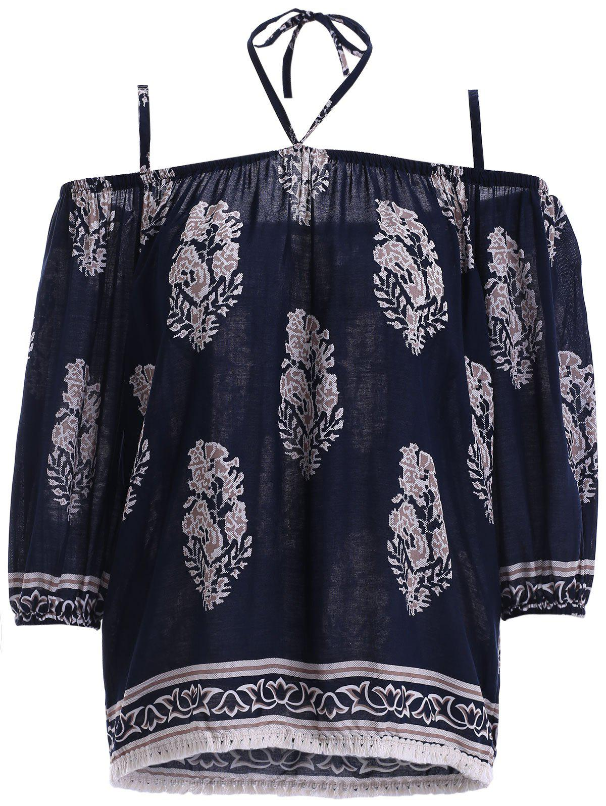Ethnic Style Women's Spaghetti Strap Tie Fringe Print Blouse - PURPLISH BLUE XL