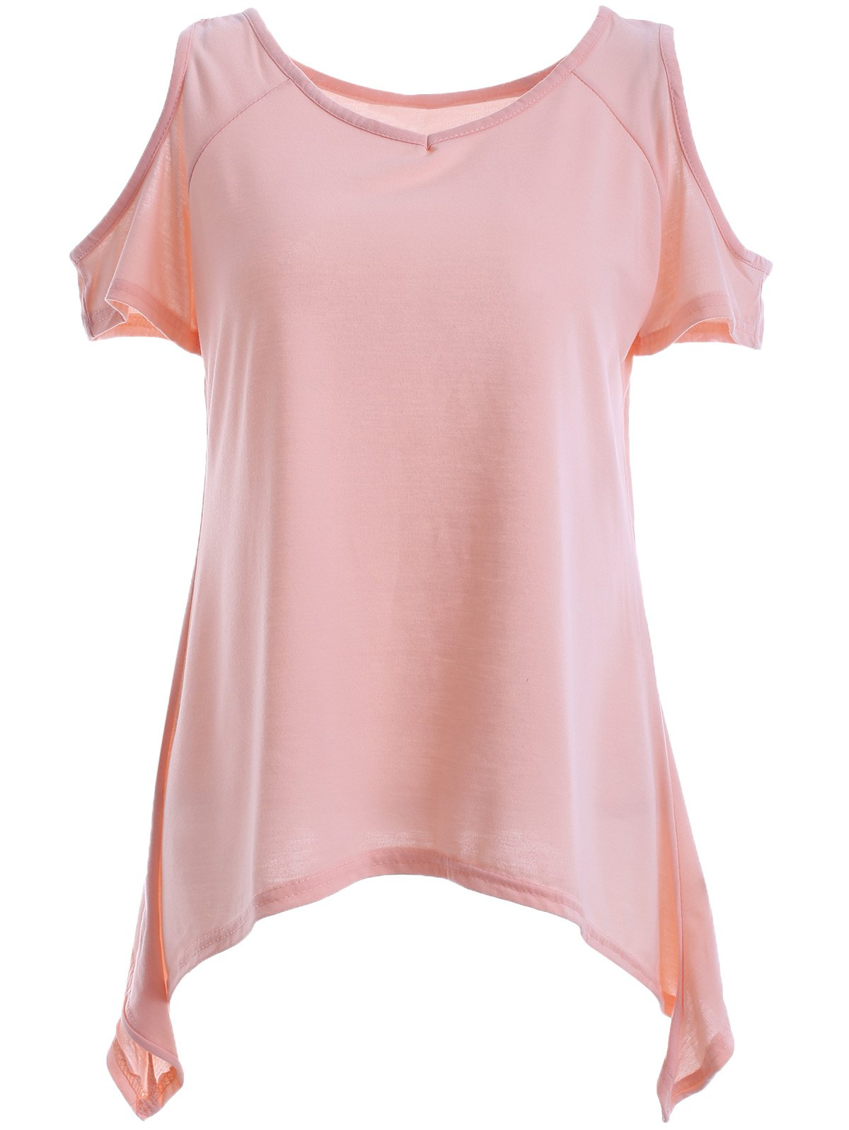 Casual Women's Scoop Neck Cold Shoulder Asymmetric Short Sleeves Blouse - PINK 2XL