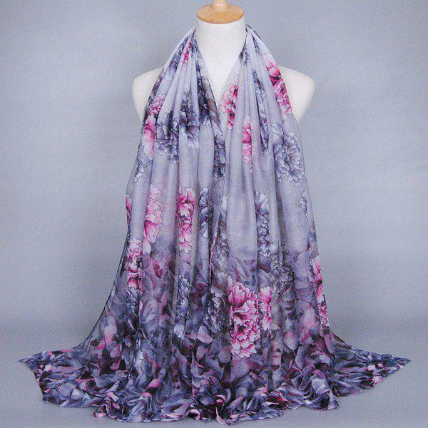 Sedate Gorgeous Peony Pattern Chinese Style Women's Voile Shawl Wrap Scarf - GRAY