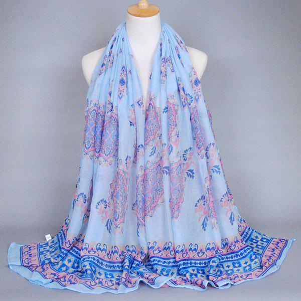 Chic Retro Baroque Printed Women's Voile Shawl Wrap Scarf - LIGHT BLUE