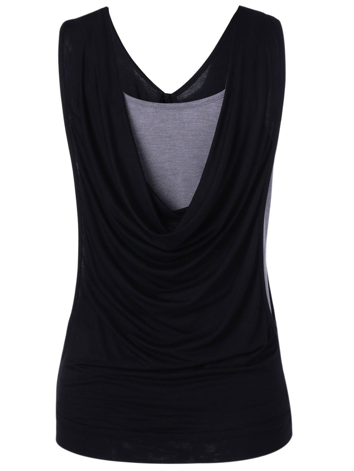 Simple Women's Fitted Pleated Cowls Openwork Tank Top - BLACK XL