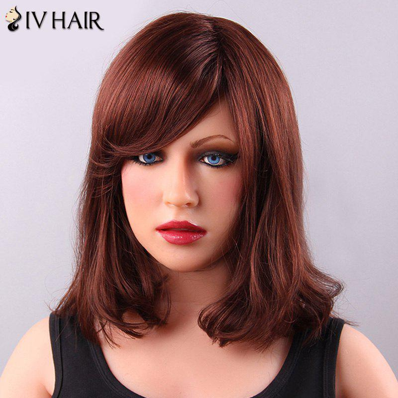 Personality MediumTail Curly Side Bang Women's Siv Human Hair Wig - DARK AUBURN BROWN