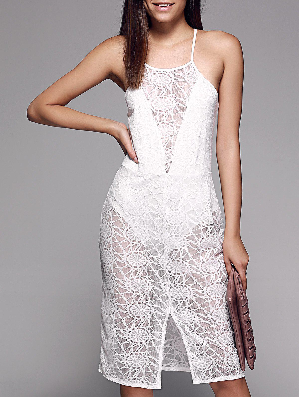 Alluring See-Through Slit Front Lace Women's Cami Dress