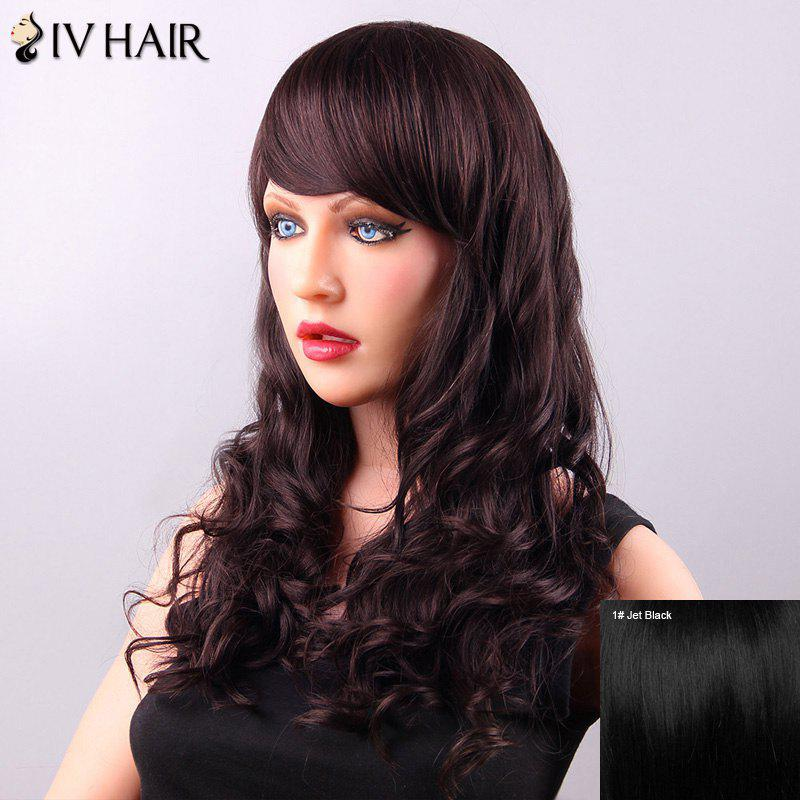Gorgeous Long Wavy Side Bang Women's Siv Human Hair Wig - JET BLACK