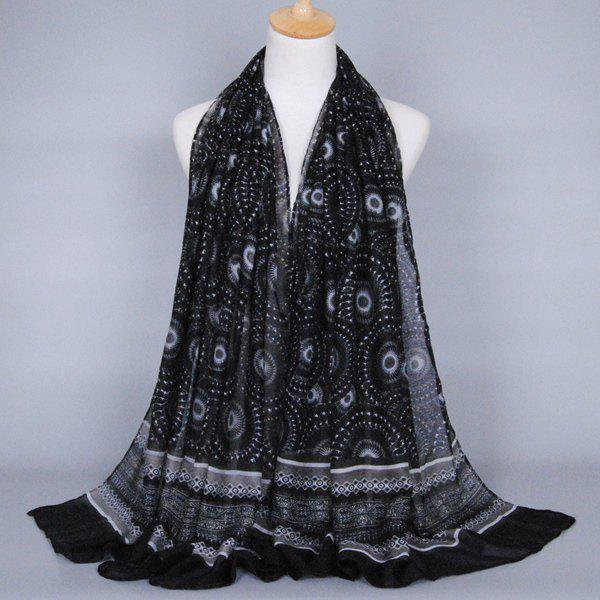 Chic Ethnic Round Beach Throw Pattern Women's Voile Shawl Wrap Scarf - BLACK