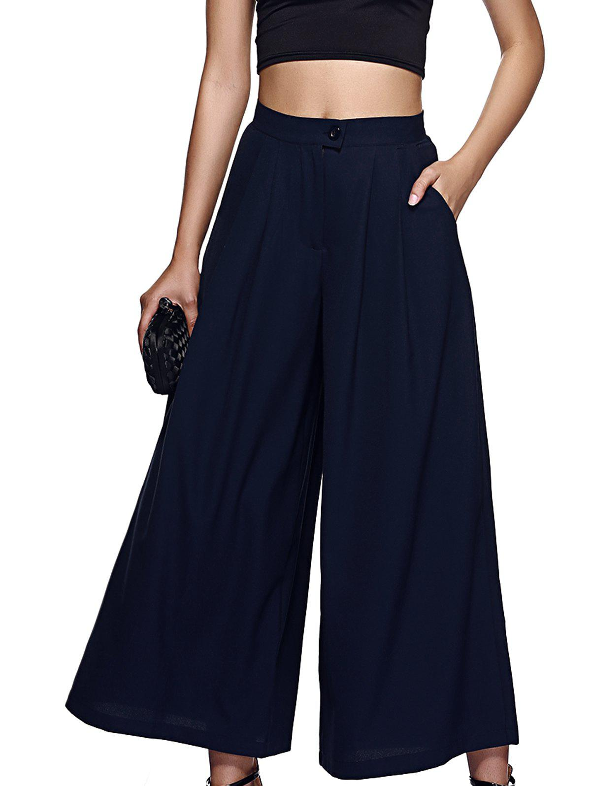 Stylish High-Waisted Solid Color Palazzo For Women - PURPLISH BLUE L