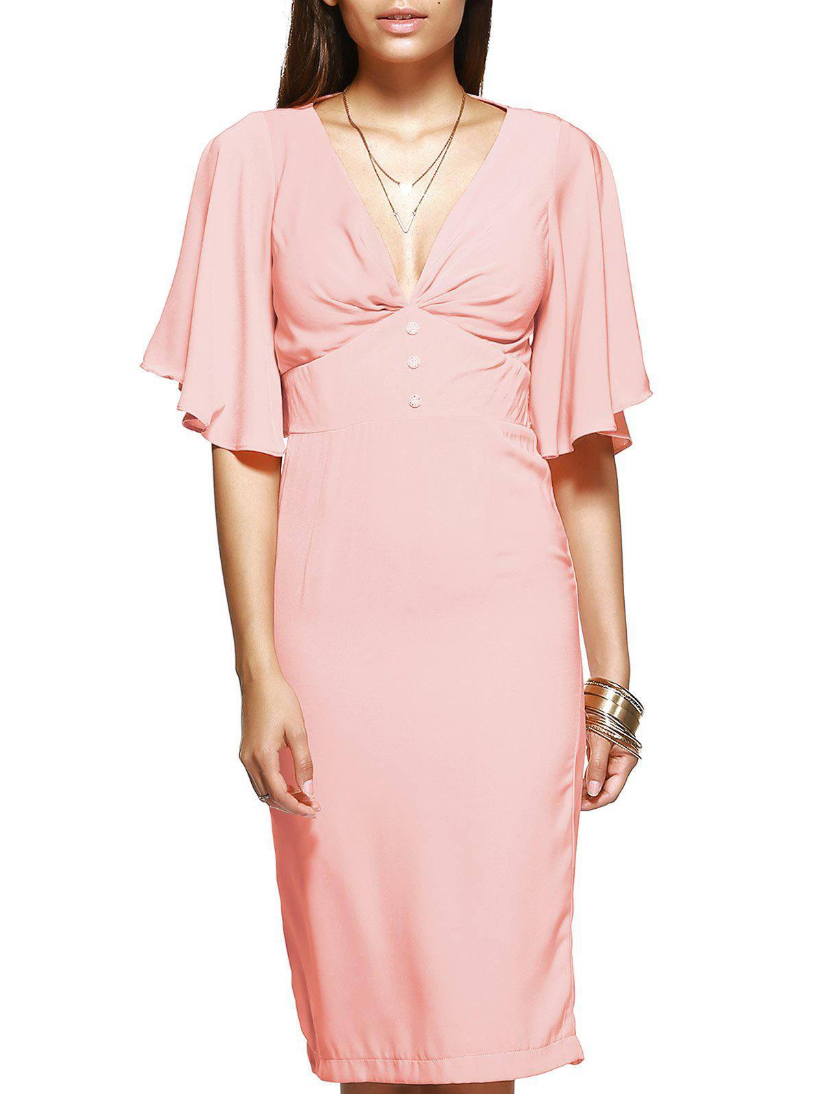 Elegant Women's Pink Flounced Sleeves Open Back Dress - SHALLOW PINK XL