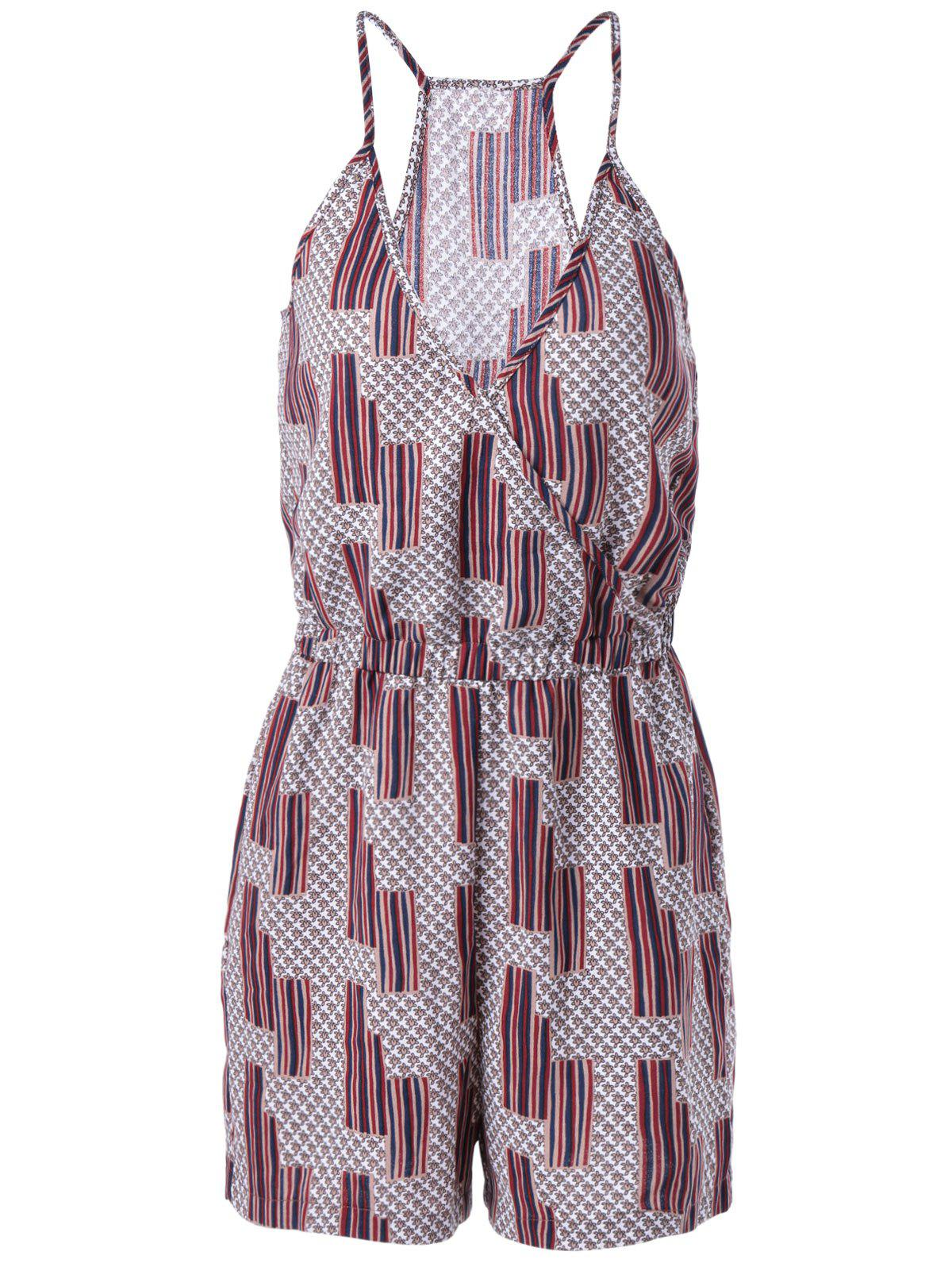 Ethnic Style Women's Loose-Fitting Spaghetti Strap Geometric Print Romper - COLORMIX L