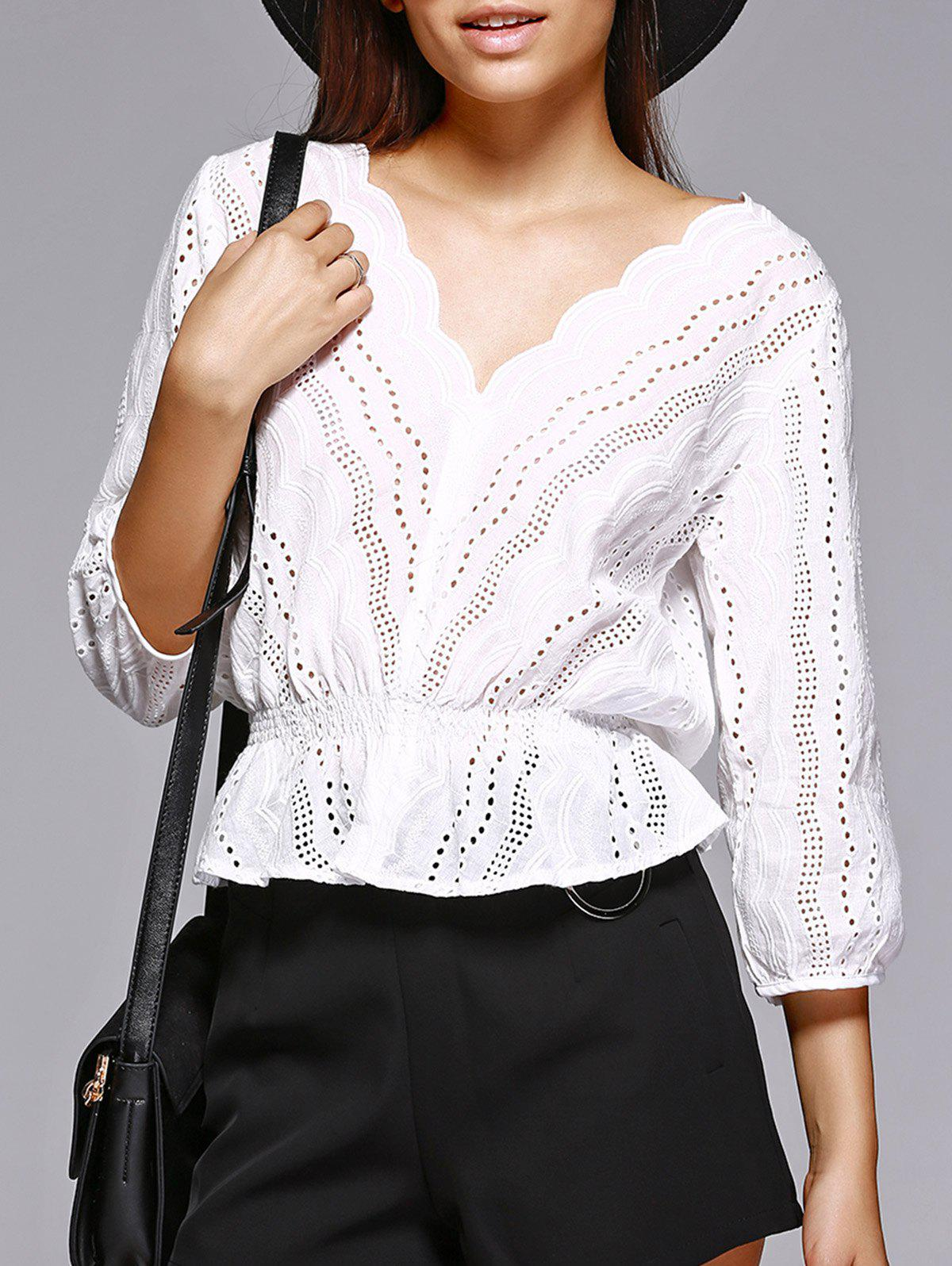 Trendy Hollow Out White V Neck Blouse - WHITE S